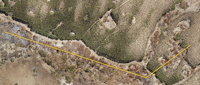 Taken January 27, 2020, this image is from near Western River in the north-west corner of Kangaroo Island.  Brown indicates burnt areas, mainly in native eucalyptus forest and the black stumps left over in burnt parts of the pine forest. Visible green areas show un-burnt or partially un-burnt areas.