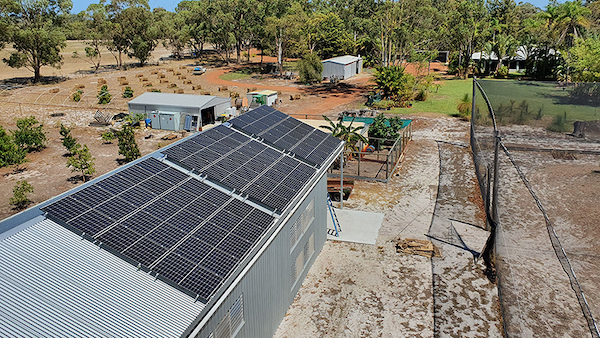 Solar panels at Kalyakool Farm supply 14 kWh of energy for storage by Redflow batteries
