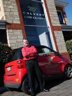 Dean Calvert outside his new Payneham office