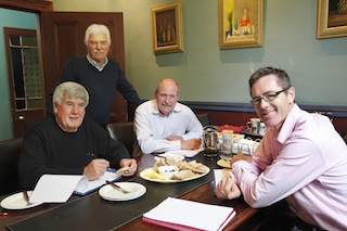Winestate's independent  judges Ian McKenzie, James Godfrey and Mark Robertson, with Winestate Publisher Peter Simic standing.