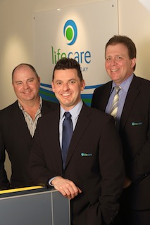 MIMP' CEO Allan Aitchison (left) and Kane Pryzibilla (centre) with Allen Candy from Life Care (right)